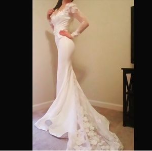 Wedding dress lace long sleeve mermaid dress 0 / 2
